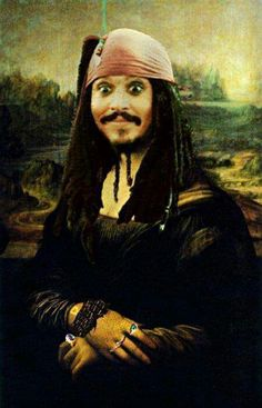 MONA LISA Jack Sparrow Johnny Depp Pirates of the Caribbean painting art The Meta Picture, Johny Depp, Disney Memes, Funny Disney, I Love To Laugh, Pirates Of The Caribbean, Laughing So Hard, Just For Laughs, The Funny