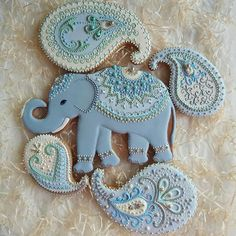 New Baby Shower Elephant Cake Decorated Cookies Ideas - Cake Decorating Cupcake Ideen Fancy Cookies, Iced Cookies, Biscuit Cookies, Cute Cookies, Cupcake Cookies, Sugar Cookies, Cupcakes Cool, Indian Cookies, Elephant Baby Shower Cake
