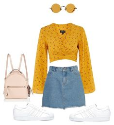 """"" by styledbynaj ❤ liked on Polyvore featuring Topshop, adidas, Hakusan and Fendi"