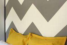 grey chevron wall | How to paint a chevron wall. Grey and mustard decor
