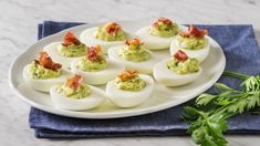 Green Goddess Devilled Eggs with Prosciutto Prosciutto Crudo, Prosciutto Recipes, Avocado Recipes, Egg Recipes, Dessert Recipes, Avocado Deviled Eggs, Bacon Deviled Eggs, Picnic Foods, Green Goddess