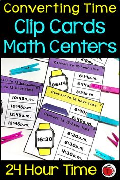 Converting 12 Hour and 24 Hour Time Clip Card Activity Time Activities, Teaching Activities, Teaching Resources, Teaching Ideas, Recording Sheets, Telling Time, Fifth Grade, 5th Grades, Anchor Charts