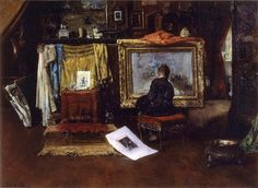 William Merritt Chase (American, 1849-1916) - The Inner Studio, Tenth Street, c.1881-82 (Oil on canvas. Huntington Library) - - Chase became a fixture in cosmopolitan New York, occupying a lavishly and exotically appointed studio in the celebrated Tenth Street Studio Building. The bold brushwork Chase had learned in Munich always stayed with him, but shortly after arriving in New York, he abandoned the bituminous dark tones that had also characterized his early style. - Németh György