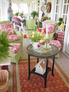 Lime Green and Red Toile - Lake Cottage Porch. So fresh and cheerful! Cottage Porch, Home Porch, Lake Cottage, Cottage Style, Cozy Cottage, Outdoor Rooms, Outdoor Furniture Sets, Outdoor Decor, Green Furniture