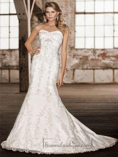 Elegant Sweetheart Trumpet Lace Appliques Wedding Dresses