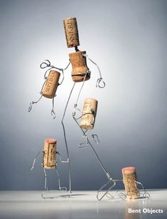 Just an Illusion # 245 Bent Objects Secret Life of Objects Terry Border 18 Wine Cork Art, Wine Cork Crafts, Wine Bottle Crafts, Diy Cork, Wine Cork Ornaments, Wine Cork Projects, Wine Bottle Corks, Wire Crafts, Recycled Art
