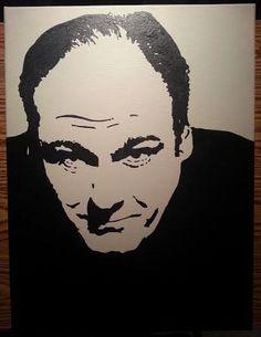 """James Gandofini hand-painted portrait on 18""""x24""""x3/4"""" canvas"""