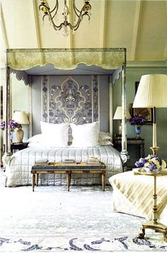 "By Bunny Williams. So many elements to enjoy: mirrored canopy bed (aged glass) tapestry ""headboard"" soft & quiet color palette achieved using several colors rustic beams on vaulted ceiling graceful chandelier . Bedroom Retreat, Dream Bedroom, Home Bedroom, Master Bedroom, Bedroom Decor, Beautiful Bedrooms, Beautiful Interiors, Into The West, Interior Decorating"