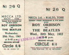 29 May 1963 - UK, Rialto Theatre, York - Beatles & Solo Photos & Videos Forum Concert Tickets, Concert Posters, Rialto Theater, Solo Photo, Roy Orbison, George Harrison, Mecca, The Beatles, York