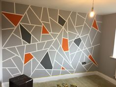 Boys room Room Wall Painting, Room Paint, Geometric Wall Paint, Wall Paint Patterns, Teen Boy Rooms, Living Room Tv Unit, Geometric Pattern Design, Boys Bedroom Decor, Room Themes