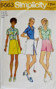 1970s Blouse Skirt & Shorts Pattern-Golf-Bust 36 Simplicity 5663 Uncut