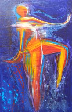 Danseres (Regendans). Acryl mixed media op canvas. 100/140. www.ingridartpaintings.nl