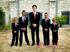 Wedding Flower Boutonniere Package Hot Pink Black by MakeBelieveN, $100.00