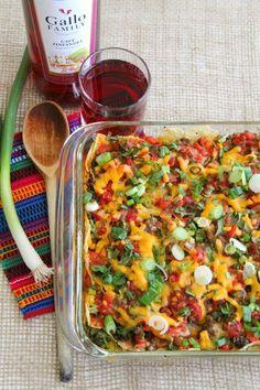 Baked Lentil Chilaquiles Casserole   http://ShockinglyDelicious.com. Easy…
