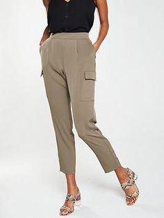Wallis Smart Utility Jogger in Khaki High Leg Boots, Color Khaki, Long Toes, Women's Leggings, Latest Fashion, Joggers, Wallis, Trousers, Shopping