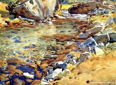 Brook among Rocks landscape John Singer Sargent art for sale at Toperfect gallery. Buy the Brook among Rocks landscape John Singer Sargent oil painting in Factory Price. Watercolor Water, Watercolor Artists, Watercolor Techniques, Watercolor Landscape, Painting Techniques, Landscape Art, Landscape Paintings, Oil Paintings, Watercolor Paintings