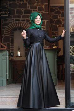 Pınar Şems - Deri Elbise - PS-5960 - Siyah