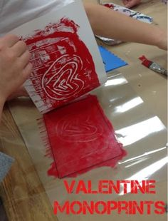 Mrs. Knight's Smartest Artists: Valentine Monoprints, 2nd grade