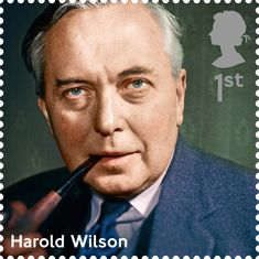A First Class Royal Mail Stamp featuring Harold Wilson. Part of the 'Influential Prime Ministers' Series. Royal Mail Stamps, Uk Stamps, Postage Stamps, Harold Wilson, British Prime Ministers, Penny Black, New Set, British History, Stamp Collecting