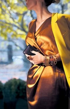 "From stunning cocktail rings to sexy statement necklaces, the season's hottest new accessories are rich and lush. According to Oriella Stillo of Toronto's Accessity, ""people are looking at the jewellery, not the clothes."" Ports 1961 sheath dress, $595 through www.ports1961.com. Balenciaga coat, $2,595 at Holt Renfrew (www.holtrenfrew.com). Accessories from left to right, Halston Heritage clutch, $195 at the Bay. Myles Mindham citrine ring, $6,000, gold bracelet, $500, diamond tennis…"