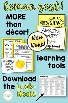 Ready for a fresh classroom decor theme? This bright lemon zest will keep your classroom looking clean AND functional! More than a decor set, there are learning tools and reference posters included to support all learners! Multiple options, including black and white, for easy printing! #classroomdecor #lemondecor