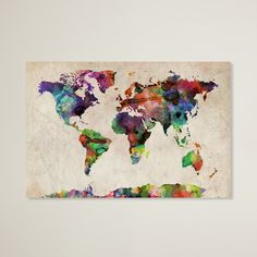 Trademark Art Home,Michael Tompsett 'Urban Watercolor World Map' Canvas Art, Décor Trademark Art Wall Décor Home Watercolor World Map, Watercolor Canvas, Watercolor Tattoo, Watercolor Artists, World Map Art, World Map Canvas, Painting Prints, Art Prints, Map Painting
