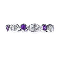 Wedding Band - Round Diamonds & Amethyst gem stone Swing Band