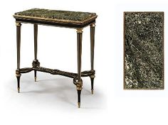 A LOUIS XVI ORMOLU-MOUNTED AND PEWTER-INLAID EBONY CENTRE TABLE  CIRCA 1785, COMISSIONED BY THE MARCHAND-MERCIER DOMINIQUE DAGUERRE AND ATTRIBUTED TO ADAM WEISWEILER Price realised  GBP 355,200 USD 627,994 Estimate GBP 100,000 - GBP 200,000 (USD 176,800 - USD 353,600)