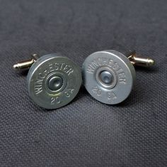 Shotgun Bullet Shell Silver Cufflinks, Winchester 20 gauge cufflinks crafted from repurposed shell casings