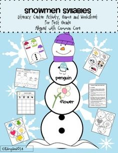 Snowmen Syllable Literacy Center Activity, Game and Worksheet For First Grade Aligned with Common Core  This game/center that reinforces syllabication is sure to be a hit in your classroom. Aligned with common core and designed with pictures and words to support struggling readers is a great addition to your centers, daily 5 or word work activities.