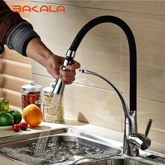 103.52$  Buy here - http://ali533.worldwells.pw/go.php?t=32756942423 - BAKALA Luxury Chrome Brass Finished black Universal tube Modern Finished Pull-out kitchen faucet Deck Mounted Mixer tap BR-9205
