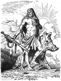 """Freyr or Frey, from *frawjaz """"lord"""" is one of the most important gods of Norse paganism. Freyr was associated with sacral kingship, virility and prosperity, with sunshine and fair weather, and was pictured as a phallic fertility god, Freyr """"bestows peace and pleasure on mortals""""."""