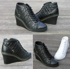 newest dbf8c e3963 Mire High Top Wedges Black Fashion Sneakers Lace Up Women Shoes US 5  UK  2.5. Womens ...
