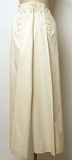 1973   Cream Cotton Sailer Pants by Yves Saint Laurent
