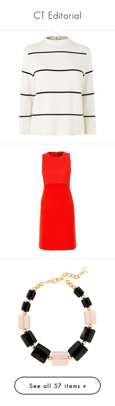 """CT Editorial"" by halsbrook ❤ liked on Polyvore featuring dresses, orange, stretchy dresses, day to night dresses, red sleeveless dress, orange dress, red a line dress, jewelry, necklaces and collane"