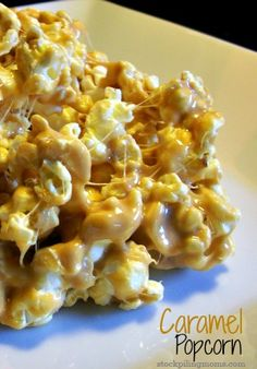 The popcorn isn't crunchy and it's really sweet, but if you eat it with plan salted popcorn, it's great! That whole salty sweet combo! :: This makes an awful lot and puts a lot of coating on the popcorn Popcorn Recipes, Snack Recipes, Dessert Recipes, Cooking Recipes, Yummy Snacks, Delicious Desserts, Yummy Food, Carmel Popcorn, I Love Food