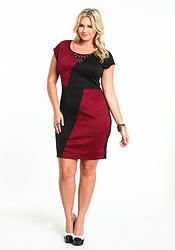 Burgundy Embossed Necklace Dress (Plus Size)