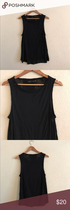 ALL SAINTS women's Black Tank Top 4 All Saints women's Black Tank Top.  It's see through but also has a cool design that is hard to see in photos.  Super cute top ! A must have if you're an All Saints fan.  Size: 4.  70% Polyester , 30% Cotton.  In great condition!  If you have any questions feel free to ask! All Saints Tops Tank Tops