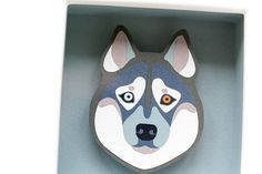 Papercut picture (paper diorama) with original paper art. Husky portrait based on author illustration and made of from a few layers of quality paper. This beautiful framed papercut can be a special piece of home decor and all husky lover! Husky paper art is a perfect gift for any