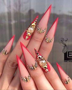 Long Nail Designs, Nail Polish Designs, Acrylic Nail Designs, Nail Art Designs, Nails Design, Stiletto Nails, Gel Nails, Coffin Nails, Wedding Nail Polish
