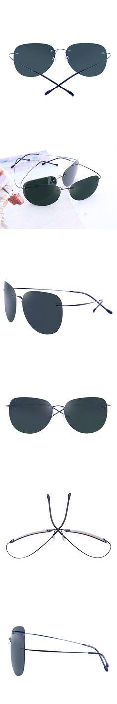 03a6aedaaa Men Rimless Sunglasses Titanium Alloy Women Brand Designer Sun Glasses  Aviation Ultralight Polarized Sunglass Aviador Silhouett