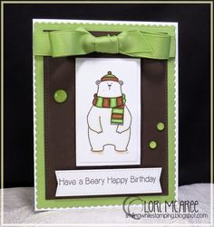 Smiling while Stamping: Beary Happy Birthday Handmade birthday card using MFT Cool Day stamp set and Blueprints 20 dies