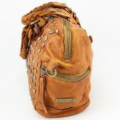 Italienische Echt Leder Handtasche Ledertasche Used Look Vintage Nieten Italien Josual Braun groß www.styleup.eu