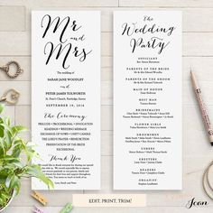 Sweet Bomb Printable Wedding Order of Service Template Printable Wedding Programs, Wedding Ceremony Programs, Wedding Venues, Wedding Program Templates, Wedding Programs Wording, Wedding Stationary, Wedding Invitations, Invitation Cards, Wedding Favors
