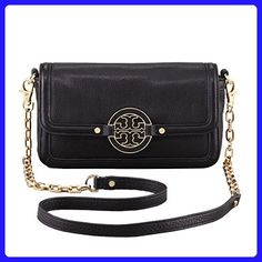 10521d49f46 The Tory Burch Amanda Mini Logo Handbag Gold Chain Black Leather Cross Body  Bag is a top 10 member favorite on Tradesy.
