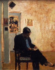 The Reader (Romain Coolus) - Edouard Vuillard, 1897-99 French, 1868-1940 Oil on cardboard, V. Madrigal Collection, New York