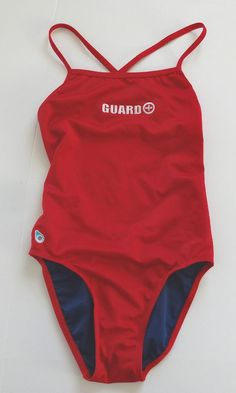 Original Watermen X-Back Swimsuit Lifeguard Suit Size 32 6 Embroidered Red #OriginalWatermen #OnePiece