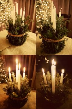 Pine branches will add the Christmas smell to your home however instead of lighting candles consider a safer alternative and use wax battery operated taper candles.