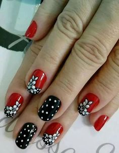Pin by Hope Vanover on nail design in 2019 Crazy Nail Art, Crazy Nails, Fancy Nails, Pretty Nails, Hot Nails, Hair And Nails, Rockabilly Nails, Flower Nail Art, Cool Nail Designs