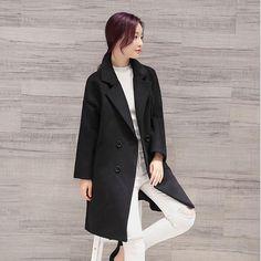 Elegant Hot 2017 Casual Women Wool Blend Trench Coat Warm Parka Cashmere Winter Woolen Long Jacket Double Breasted Overcoat P989